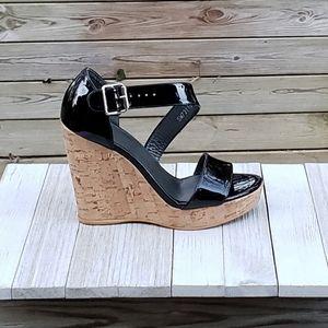 Stuart Weitzman Oneliner Wedge Cork Sandal OpenToe